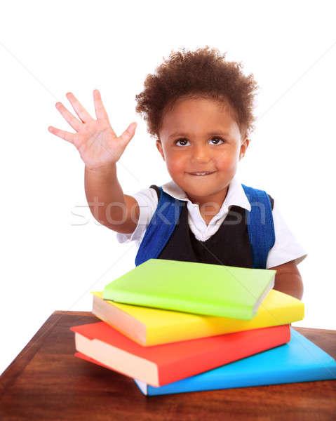 Stockfoto: Terug · naar · school · gelukkig · afrikaanse · vergadering · achter