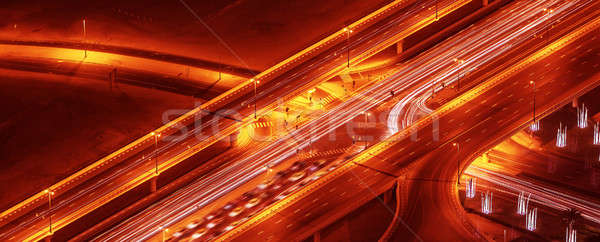 Gece yollar panoramik kuş göz görmek Stok fotoğraf © Anna_Om