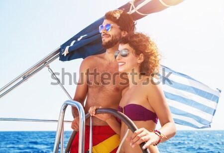 Bel homme conduite voilier actif mode de vie Photo stock © Anna_Om