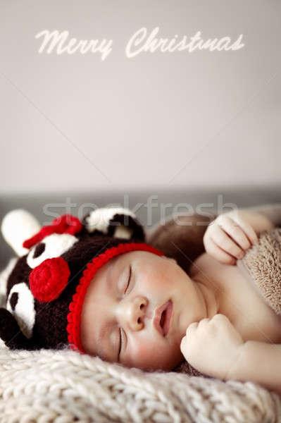 Cute baby sleeping in Christmas costume Stock photo © Anna_Om