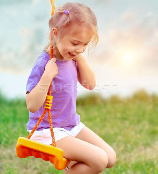 Cute baby girl on the swing Stock photo © Anna_Om