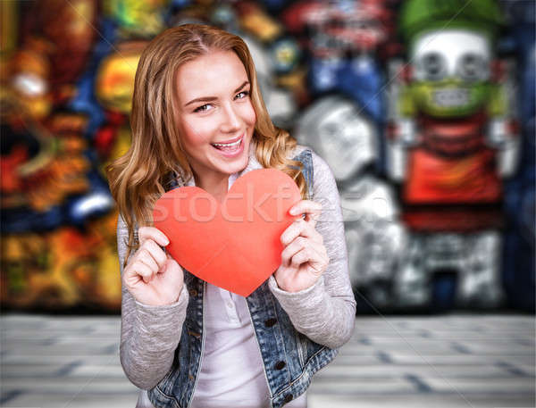 Happy teen girl in love Stock photo © Anna_Om