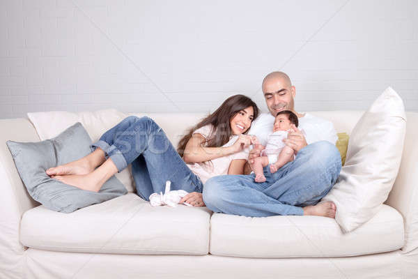 Young parents with little baby at home Stock photo © Anna_Om