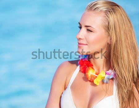 Beautiful female holding red flower Stock photo © Anna_Om