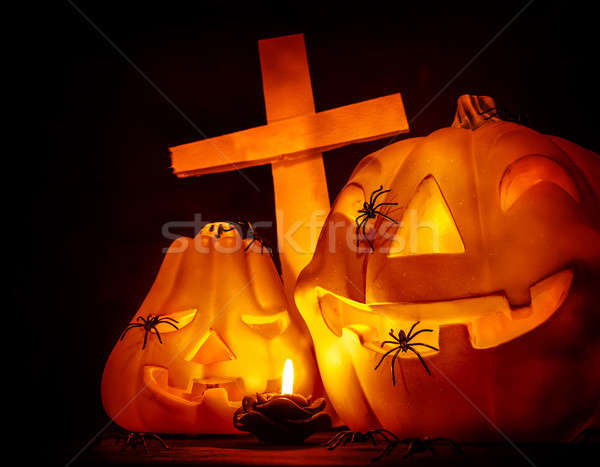 Glowing pumpkin with cross Stock photo © Anna_Om