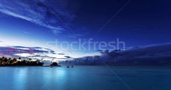 ночь Мальдивы темно синий ночное небо Сток-фото © Anna_Om