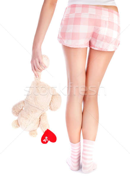 Szeretet hát oldal nő visel pizsama Stock fotó © Anna_Om