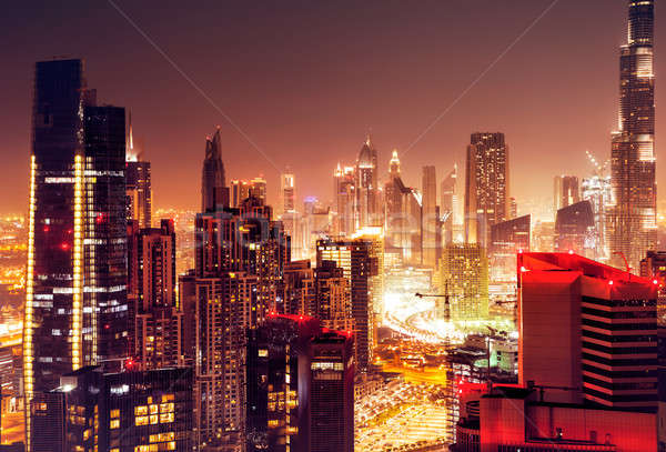 Dubaï Night City belle cityscape modernes Photo stock © Anna_Om