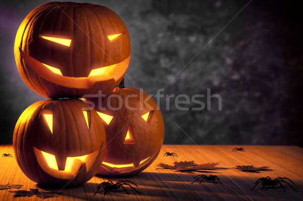 Grunge halloween abóboras natureza morta três Foto stock © Anna_Om
