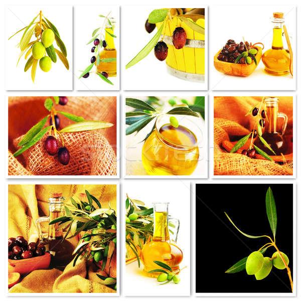 Foto stock: Aceitunas · collage · frescos · maduro · verde · aceitunas · negras