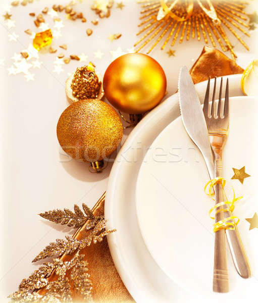 Luxury Christmas table setting Stock photo © Anna_Om