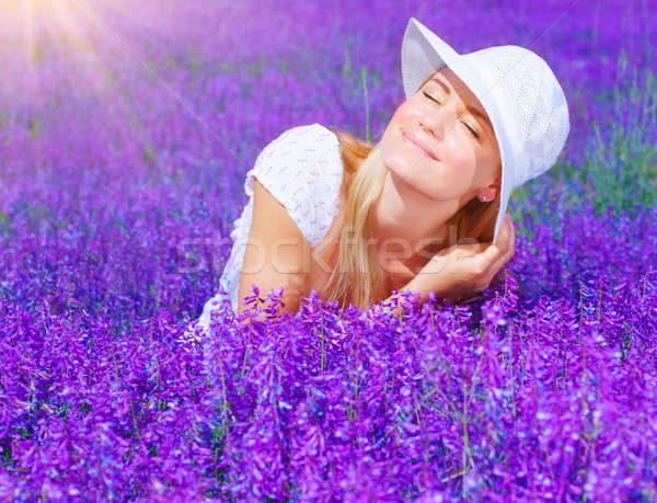 Beautiful female on lavender field Stock photo © Anna_Om