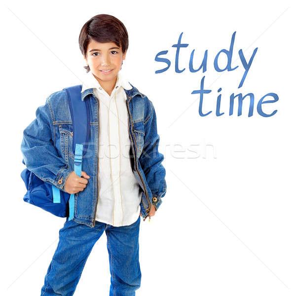 Cute schooljongen geïsoleerd witte studie tijd Stockfoto © Anna_Om