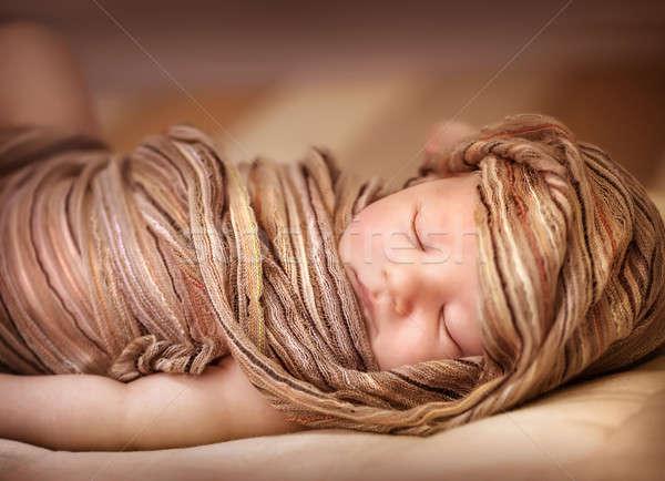 Sweet baby girl asleep Stock photo © Anna_Om