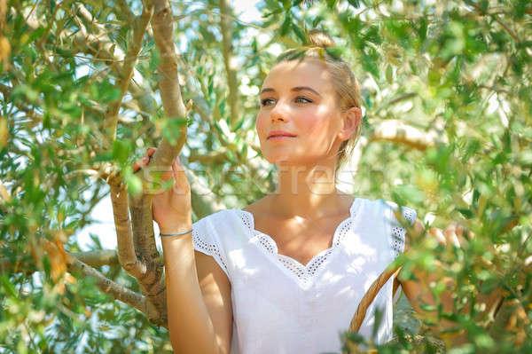 Gyönyörű lány olajbogyó kert portré gyönyörű gyengéd Stock fotó © Anna_Om