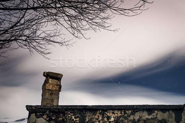 éjszaka csillagos ég fátyol fehér füstös felhők Stock fotó © Anna_Om