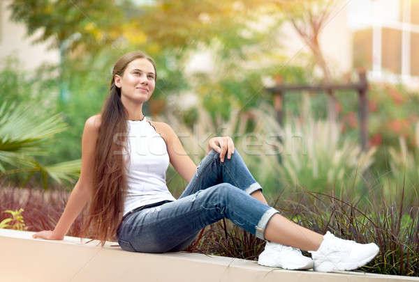 álomszerű lány park szép női ül Stock fotó © Anna_Om