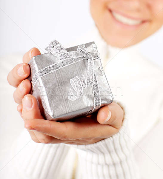 Happy female with a gift Stock photo © Anna_Om