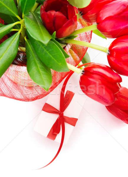 Fronteira foto vermelho fresco tulipas Foto stock © Anna_Om