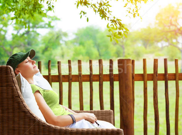 Cute girl resting on veranda Stock photo © Anna_Om