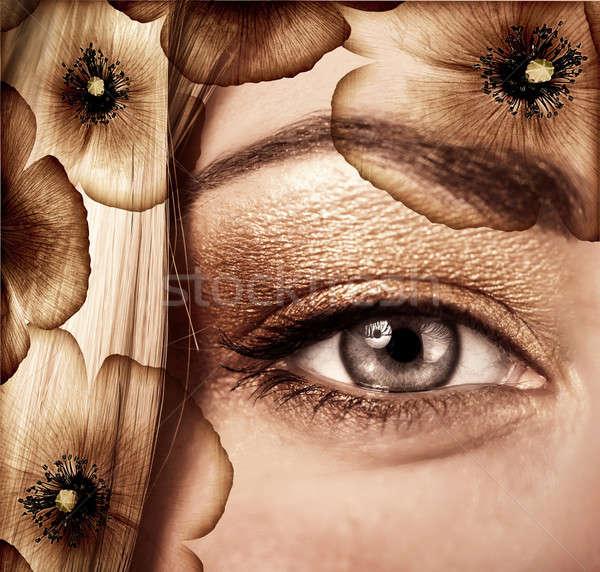 Divatos ősz smink egy szem arc Stock fotó © Anna_Om