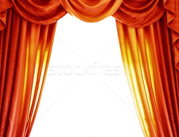 Luxury orange curtains Stock photo © Anna_Om