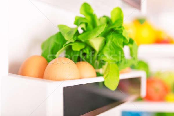 新鮮な 自然食品 オープン 冷蔵庫 卵 緑 ストックフォト © Anna_Om