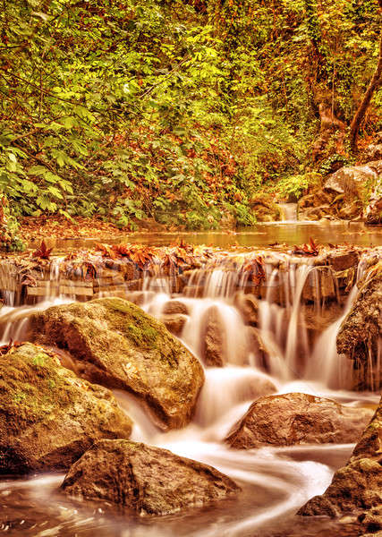 Stock photo: Waterfall in the autumn park