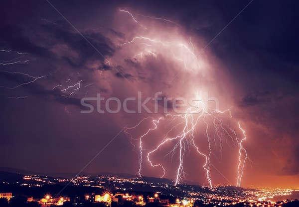 Beautiful lightning at night Stock photo © Anna_Om