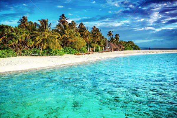 Gyönyörű édenkert tengerpart luxus trópusi üdülőhely Stock fotó © Anna_Om