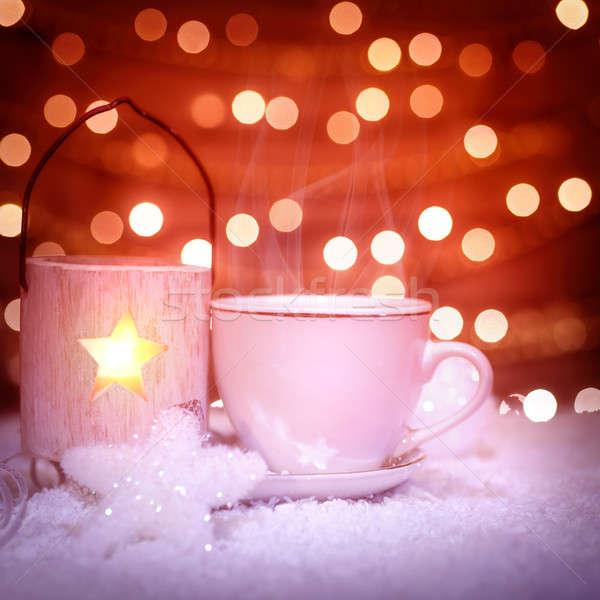 Warme chocolademelk christmas stilleven mooie elegante witte Stockfoto © Anna_Om