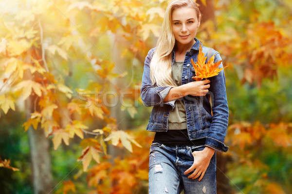 Nice женщины осень парка портрет Сток-фото © Anna_Om