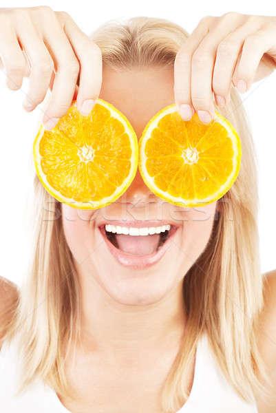 Gezondheidszorg portret gelukkig lachend meisje grappig Stockfoto © Anna_Om