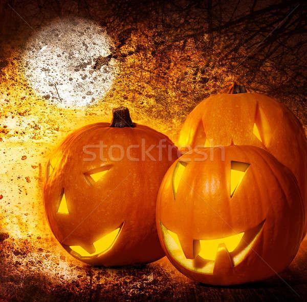 Grunge halloween pompoenen begraafplaats nacht scary Stockfoto © Anna_Om