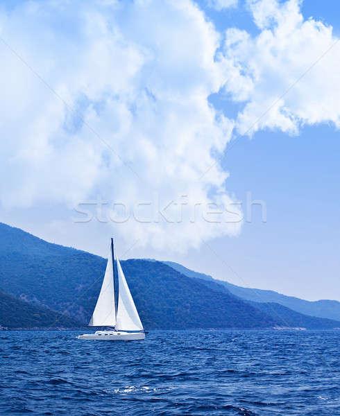 Voilier ouvrir mer belle nature bleu Photo stock © Anna_Om