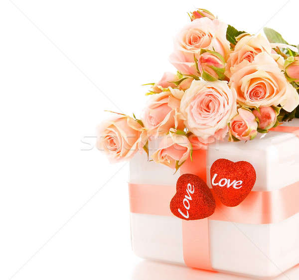 Beautiful roses with gift box & hearts Stock photo © Anna_Om