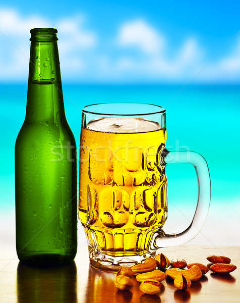 Cold beer on the beach Stock photo © Anna_Om