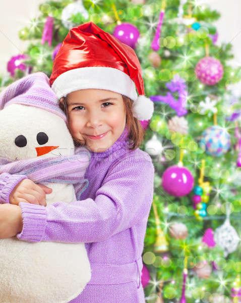 ストックフォト: 幸せな女の子 · 雪だるま · おもちゃ · 美しい · 着用