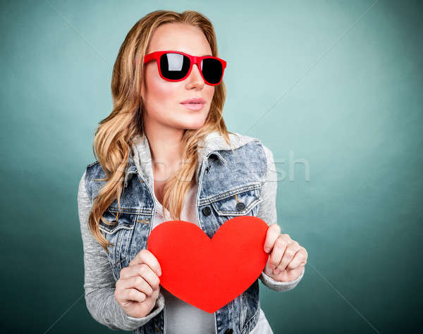 Cute girl with red heart Stock photo © Anna_Om