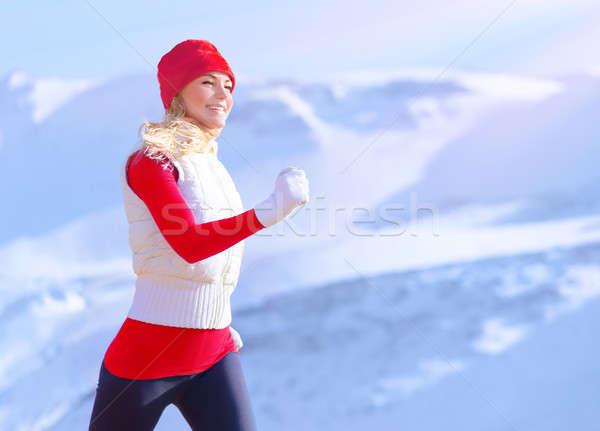 Saine fille courir extérieur actif Homme Photo stock © Anna_Om