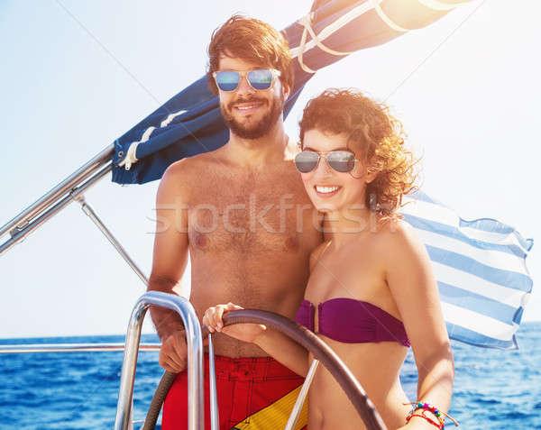 Stockfoto: Blijde · paar · rijden · zeilboot · genieten · water