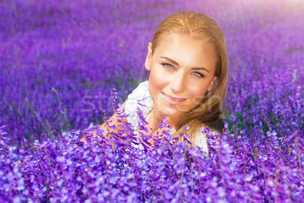 美人 ラベンダー畑 肖像 美しい ブロンド 女性 ストックフォト © Anna_Om