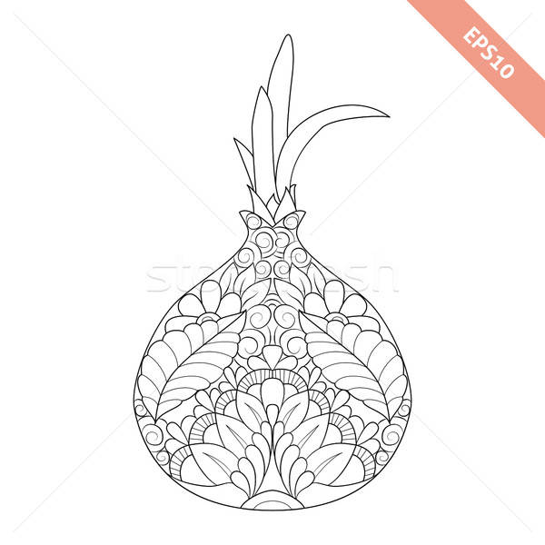 Vector Illustration Cartoon Onion With Floral Ornament Coloring