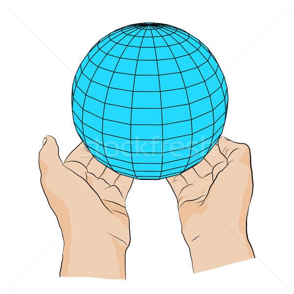 hand with sphere Stock photo © anna_solyannikov