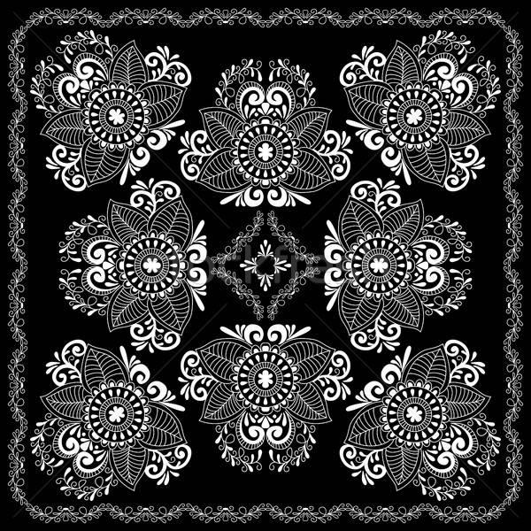 Feketefehér absztrakt fejpánt nyomtatott alkotóelem henna Stock fotó © anna_solyannikov
