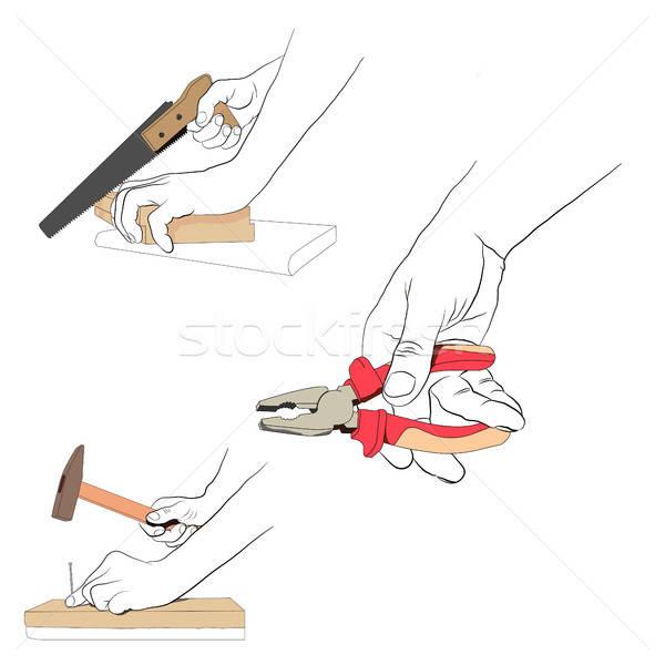 Kontur Hände Werkzeuge Set industriellen Stock foto © anna_solyannikov