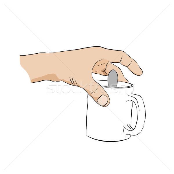 Człowiek kubek łyżka ludzka ręka Zdjęcia stock © anna_solyannikov