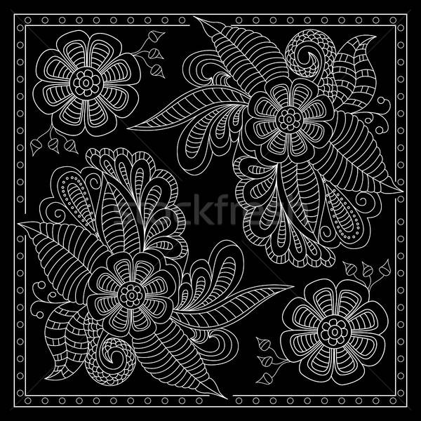 Black and white abstract bandana print with  fantasy flower.  Stock photo © anna_solyannikov