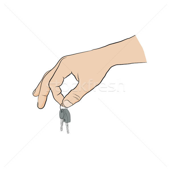 man holding keys with two fingers. Hand with key - icon Stock photo © anna_solyannikov