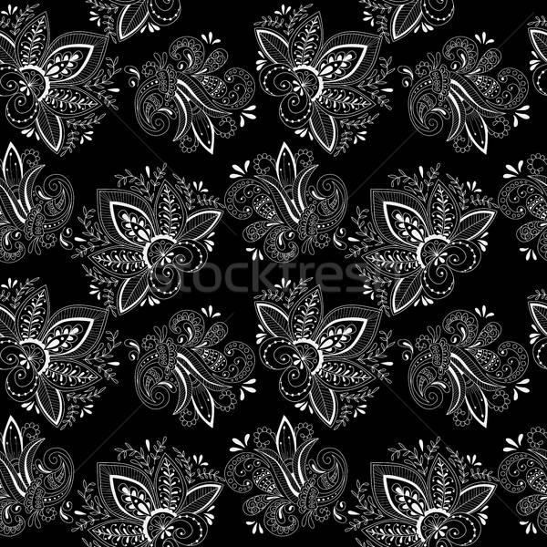 Black and white seamless  pattern with hand drawn  floral elemen Stock photo © anna_solyannikov